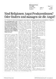 Sind Religionen Angst-Produzentinnen? Oder ... - Paulus-Akademie