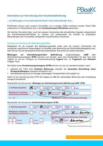 Informationen für den behandelnden Arzt - Postbeamtenkrankenkasse