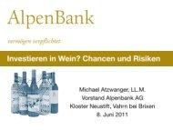 Investieren in Wein? Chancen und Risiken - AlpenBank