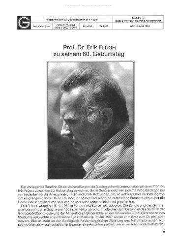Prof. Dr. Erik FLÜGEL zu seinem 60. Geburtstag