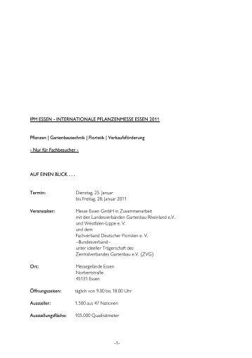 IPM ESSEN - INTERNATIONALE PFLANZENMESSE ... - SHK Essen
