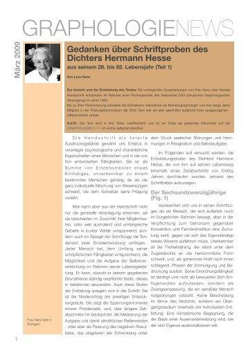 Gedanken über Schriftproben des Dichters Hermann Hesse