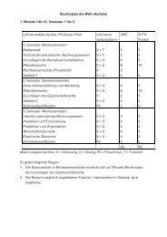 Studienplan des BWL-Bachelor - ISC