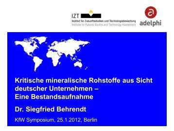 Kritische mineralische Rohstoffe aus Sicht deutscher ... - KfW