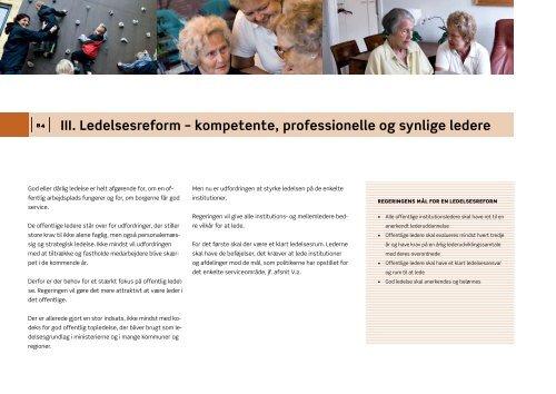 III. Ledelsesreform – kompetente, professionelle og synlige ledere