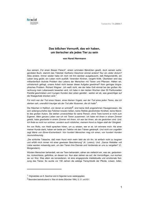 Mensch und Tier - Horst Herrmann - TA2004-7