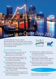 Erleben Sie die Cruise Days 2012 - VdU