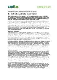 Projektbeschreibung, medizinische Einschätzung und ... - Comparis.ch