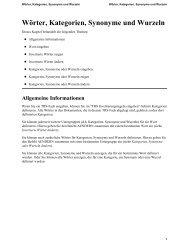 Wörter, Kategorien, Synonyme und Wurzeln - Software AG ...