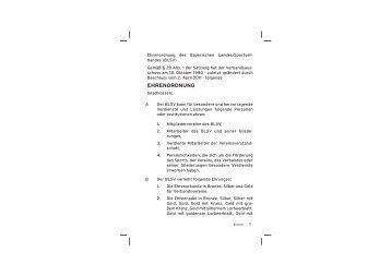 Ehrenordnung BLSV - Bayerischer Landes-Sportverband e.V.