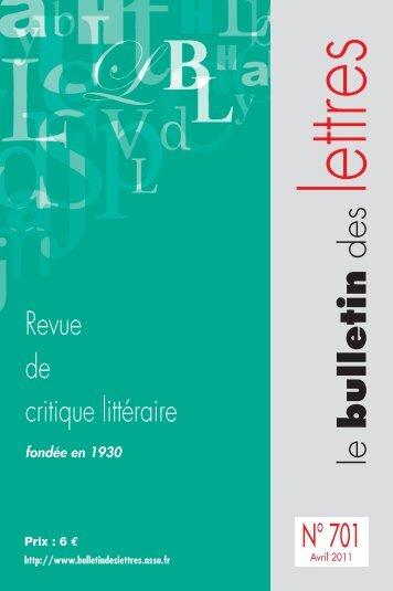 BDL_COUVERTURE_AVRIL:Mise en page 1 - Le Bulletin des Lettres