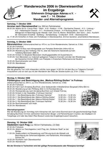 Wanderwoche 2006 in Oberwiesenthal im Erzgebirge - Eifelverein
