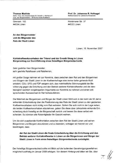 Offener Brief An Den Bürgermeister Und Die Mitglieder Des Rats Der