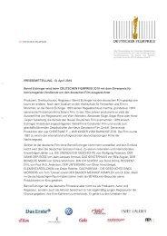 PRESSEMITTEILUNG, 13. April 2010 Bernd Eichinger wird beim ...