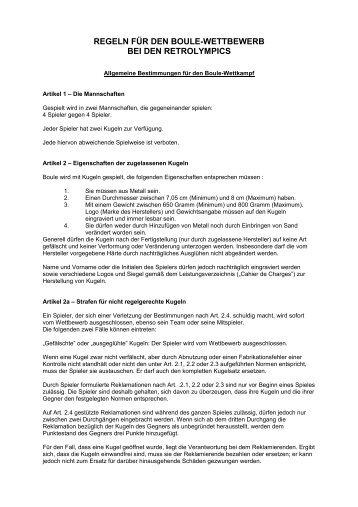 REGELN FÜR DEN BOULE-WETTBEWERB BEI ... - Retrolympics
