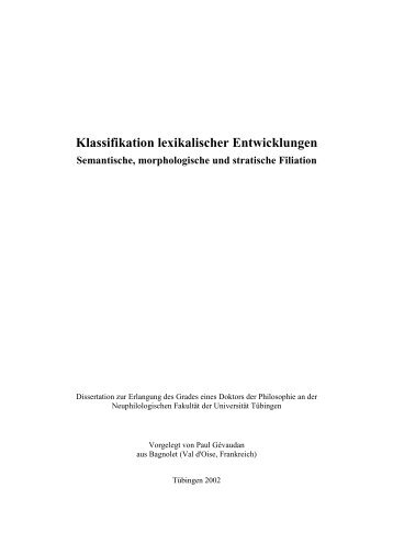 Klassifikation lexikalischer Entwicklungen - Homepage.uni ...