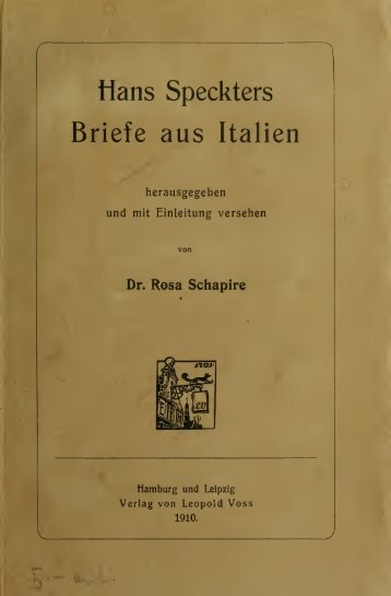 Hans Speckters Briefe aus Italien