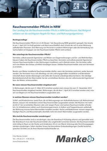 Rauchwarnmelder-Pflicht in NRW - Fritz Manke GmbH