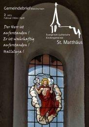 Gemeindebrief Februar/März/April 2013 - St. Matthäus Vach