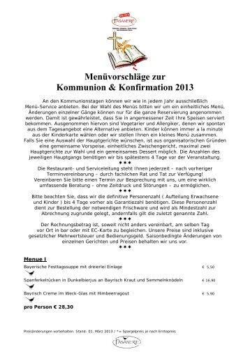 Menüvorschläge zur Kommunion & Konfirmation 2013 - Die neue ...