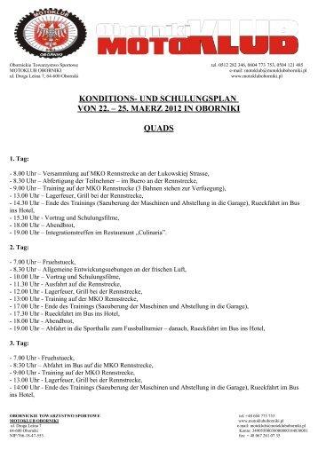 plan obozu kondycyjno - szkoleniowego od 19 do 22 marca 2009 w ...