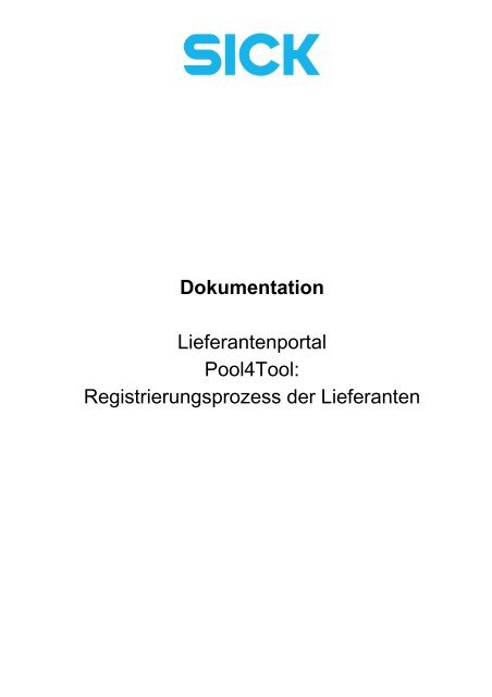 Anleitung Registrierungsprozess - Sick