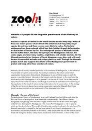 Der Zoo Zürich beschreitet mit der Erstellung des Masoala ...