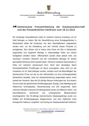 Gemeinsame Pressemitteilung der Staatsanwaltschaft und der ...
