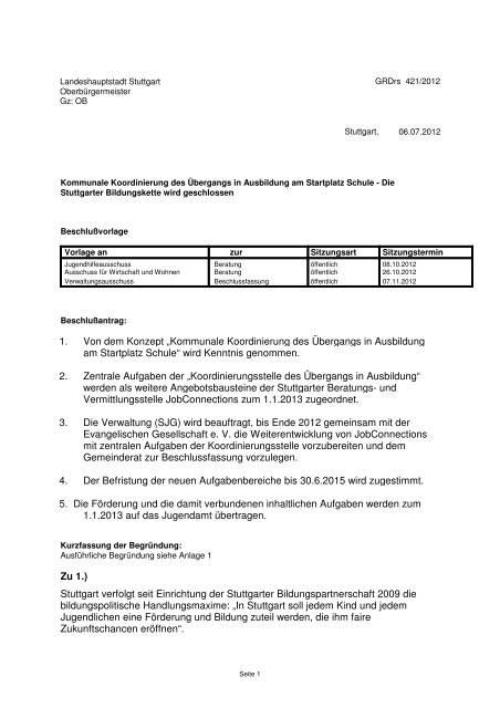 Kommunale Koordinierung des Übergangs in Ausbildung ... - Stuttgart