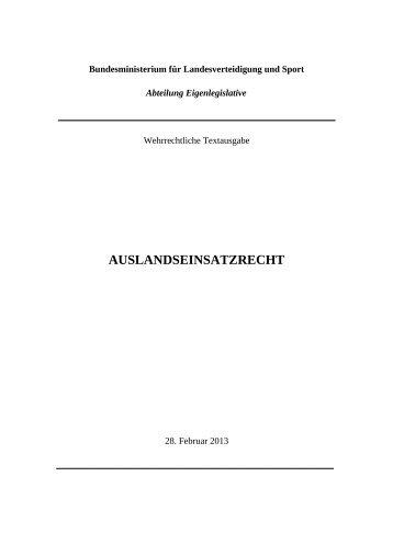 AUSLANDSEINSATZRECHT - Österreichs Bundesheer