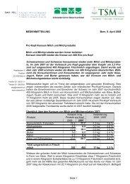 Pro-Kopf-Konsum Milch und Milchprodukte - Schweizerischer ...