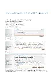 Ablauf einer eBanking-Erstanmeldung mit MobileTAN (ohne iTAN)