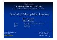 Patentrecht & Schutz geistigen Eigentums - Oliver Krause