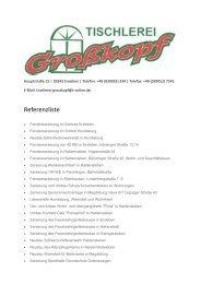 Referenzliste - Tischlerei Olaf Großkopf 39343 Erxleben