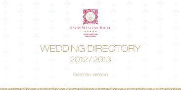 WEDDING DIRECTORY - Hotel Savoy Westend