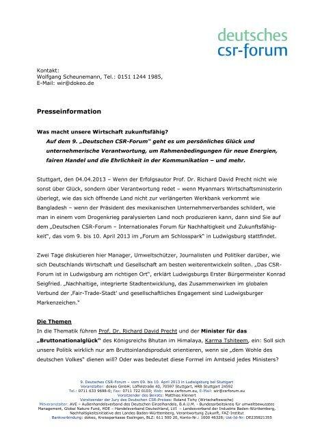 Was macht unsere Wirtschaft zukunftsfähig? - Deutsches CSR-Forum