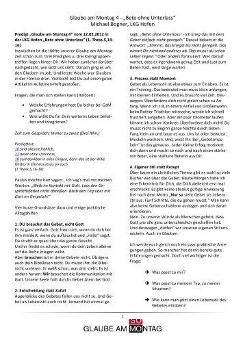 4 Glaube am Montag 12. Feb. 2012 Beten ohne Unterlass - EC Hofen