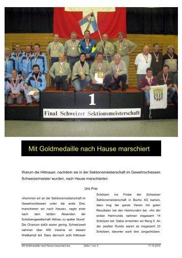 Mit Goldmedaille nach Hause marschiert - Schützen-Gesellschaft ...