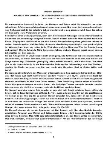 1 Michael Schneider IGNATIUS VON LOYOLA - DIE ... - Kath.de