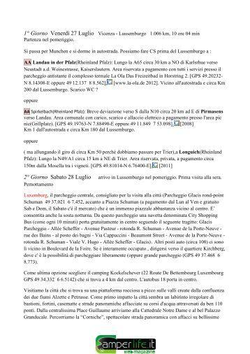 1° Giorno Venerdì 27 Luglio Vicenza - Lussemburgo ... - Camper