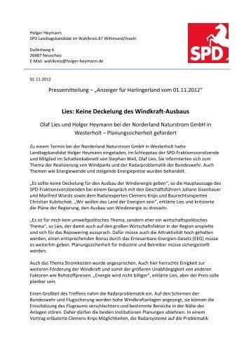 Lies: Keine Deckelung des Windkraft-Ausbaus - Holger Heymann
