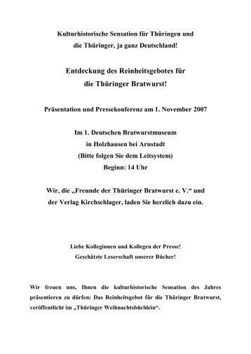 Entdeckung des Reinheitsgebotes für die Thüringer ... - Stadt Arnstadt