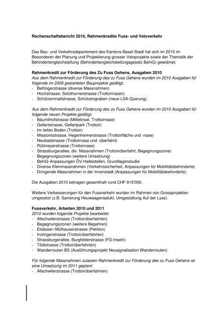Spezialberichte - Regierungsrat - Kanton Basel-Stadt