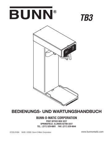 TB3 German Operating Manual - Bunn