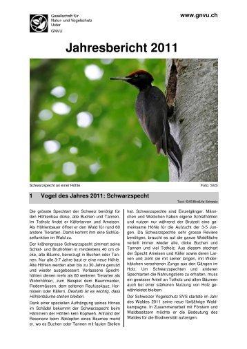 Jahresbericht 2011 - GNVU Gesellschaft für Natur- und Vogelschutz ...