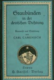 Graubünden in der deutschen Dichtung. Auswahl und Einleitung