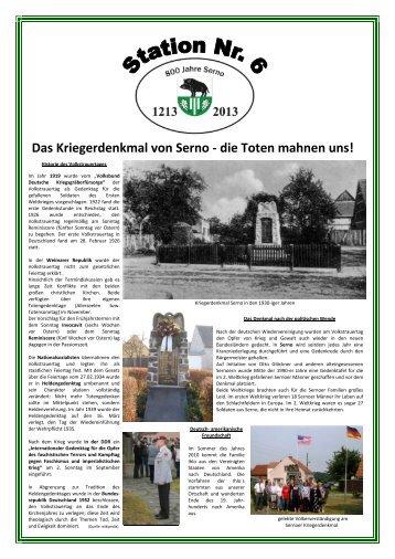 Das Kriegerdenkmal von Serno - die Toten ... - 800 Jahre Serno