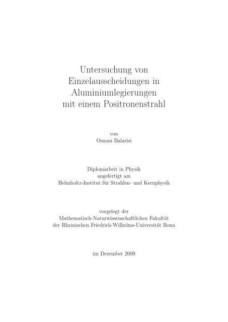 Untersuchung von Einzelausscheidungen in Aluminiumlegierungen ...