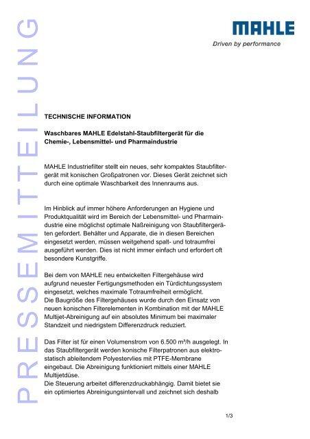 Pressemeldung - MAHLE Industry - Filtration