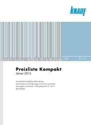 Knauf Preisliste Kompakt, Jänner 2013